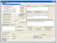 """Testing MODBUS Communications:  """"Com port options"""" menu is used to set the serial port speed and other settings."""