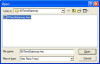Updating Firmware: Open the 9XTendGateway.hex file sent to you by APRS World.