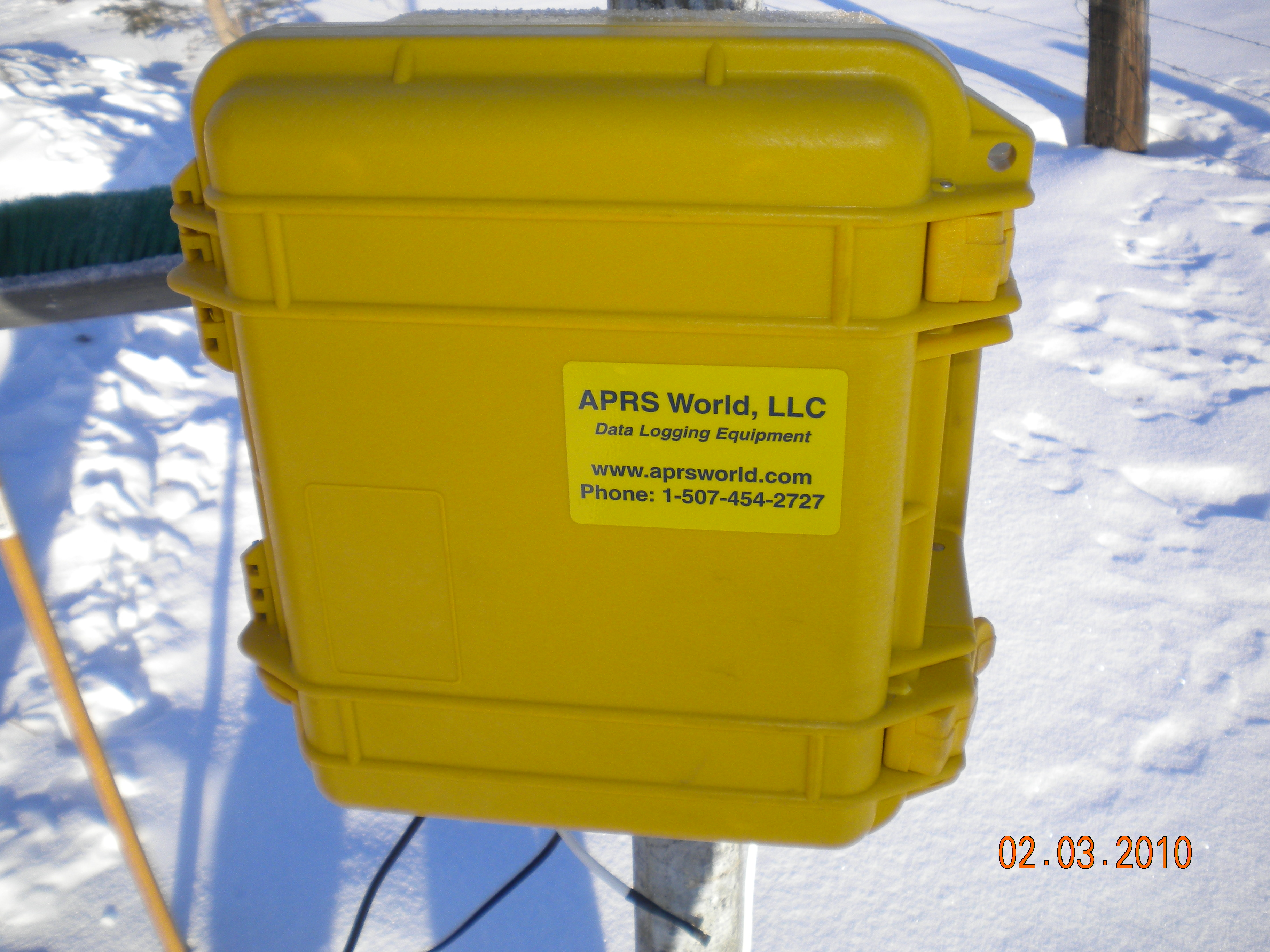 Pelican case protecting the Wind Data Logger from the extreme environment in Alaska.