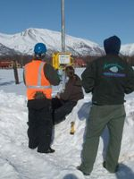Arrowhead Staff admiring their new Wind Data Logger.