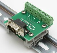 APRS6591: DB9M to Screw Terminals, DIN rail mountable