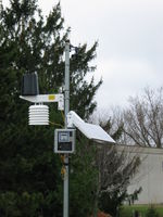 The completed weather station. Live data can be found at http://data.aprsworld.com/sites/bluffview/.