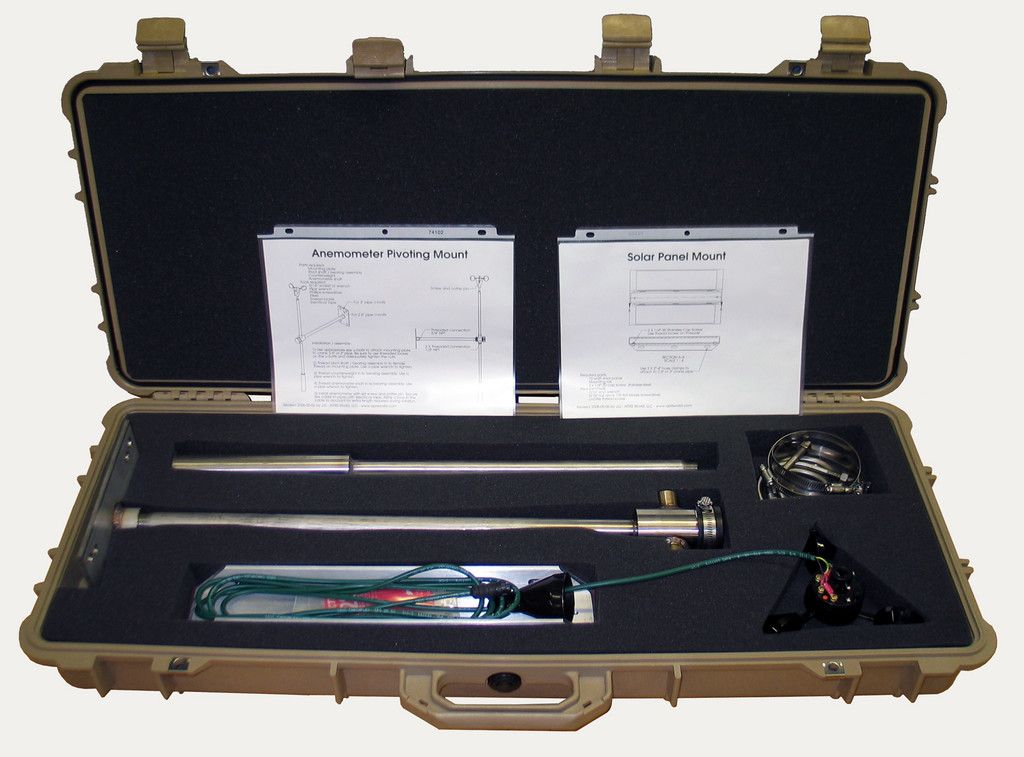 The pivoting mount in a Pelican case  with instructions.