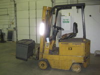 I wanted a smaller electric forklift. But those are surprisingly hard to find around here. Eventually I found this lovely Cat MC30 at an online auction. Got it for about $1400. Which turned into about $1900 after fees, transport, and taxes.