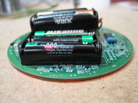 Bottom side of the board with batteries and MICA shown.