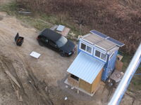Solar hot water collectors as viewed from partway up the Bergey tower. Two 4x8' 