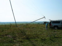 Tipping down a 120' wind monitoring tower at Pilot Mound, MN.