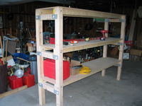 Garage shelf that was built in the shop. The shop is so large and empty that the echos from hammering the mending plates were painfully loud. Alyssa and I finally had to go outside to finish building the shelf.