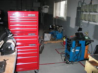 New tool boxes, TIG welder, and new air (broken) air compressor. This is the direction the shop will expanding.