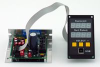 APRS World's tempLogger2 (right) with Oven Industries 5C7-550. The tempLogger2 communicates digitially with the Oven Industries controller to read the temperature. The controller set point is set using an analog signal from the tempLogger2. The tempLogger2 provides a complete and compact interface for using the Oven Industries 5C7-550 controller and logging the actual temperatures.