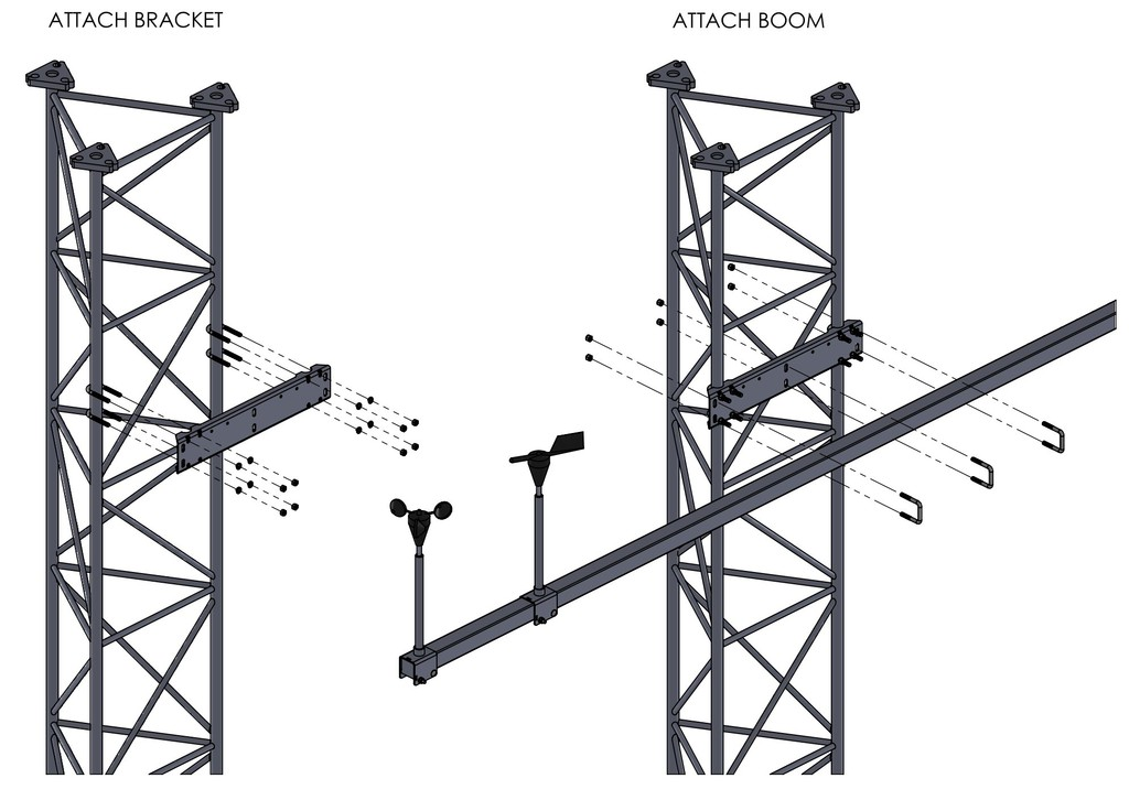 APRS6614 boom mounting bracket assembly drawing.