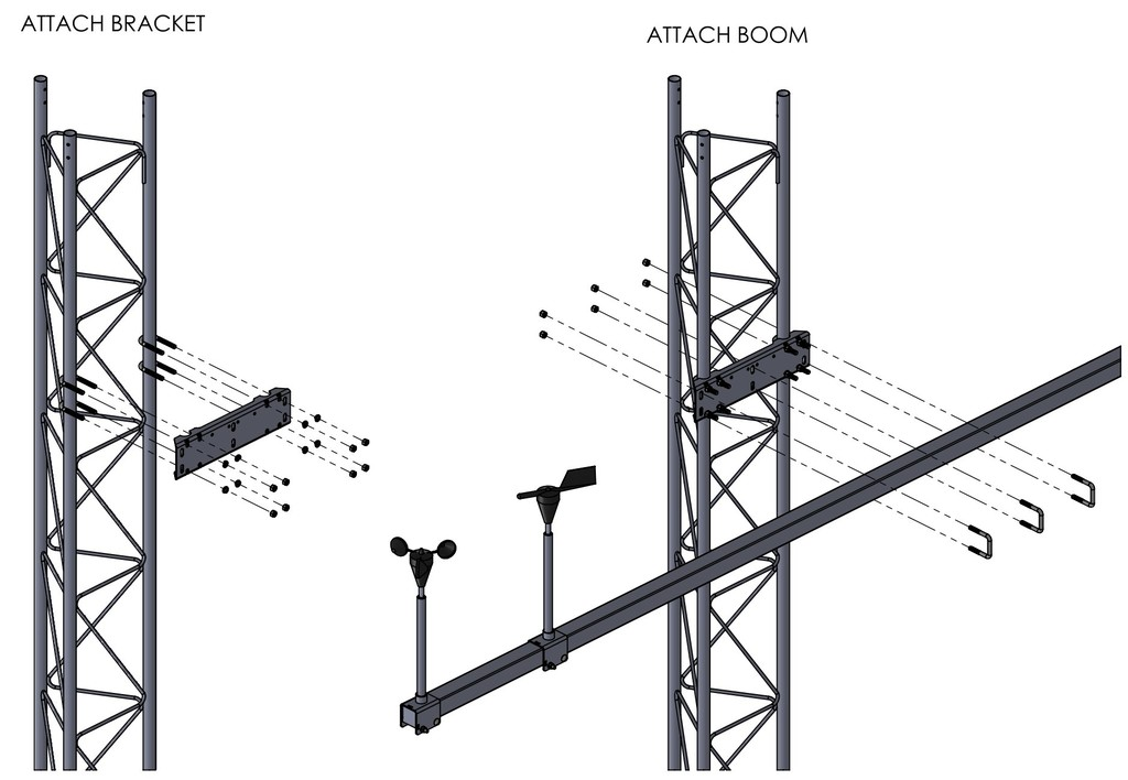 APRS6613: Rohn 25G boom mounting system assembly drawing.