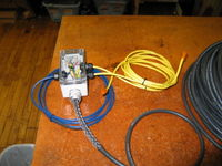 Breakout box for underwater cable. This box joins the temperature sensor and two anemometers to the underwater cable. It also features a clamp on the back to allow it to be attached to the mast on the bouy.
