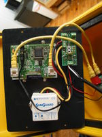 Back view of the Wind Data Logger. The data logger, power board, and solar charge controller are shown.