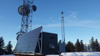 APRS World's WT10 on 20ft of Rohn 45G tower. Site is a microwave relay and cell phone site serving the Prince William Sound near Cordova, AK.
