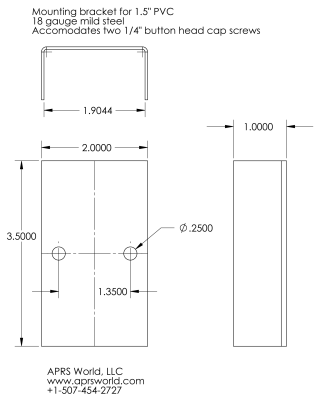 dimensioned drawing of PVC bracket